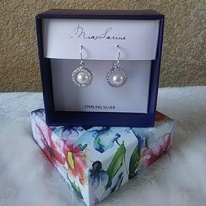 Freshwater Pearl Dangle Earrings CZ